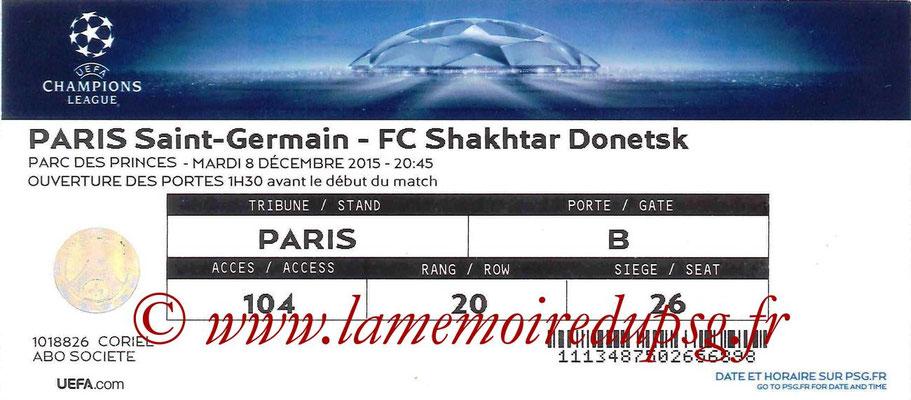 Tickets  PSG-Shakhtar Donetsk  2015-16