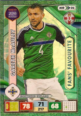 2018 - Panini Road to FIFA World Cup Russia Adrenalyn XL - N° NIR06 - Gareth MacAULEY (Irlande du Nord) (Fans' Favourite) (UK Version)