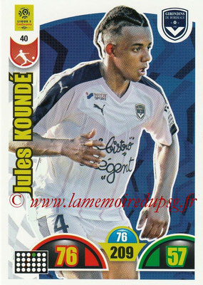 2018-19 - Panini Adrenalyn XL Ligue 1 - N° 040 - Jules KOUNDE (Bordeaux)