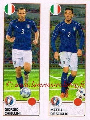 Panini Euro 2016 Stickers - N° 493 - Giorgio CHIELLINI + Mattia DE SCIGLIO (Italie)
