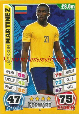 Topps Match Attax England 2014 - N° 062 - Jackson MARTINEZ (Colombie)