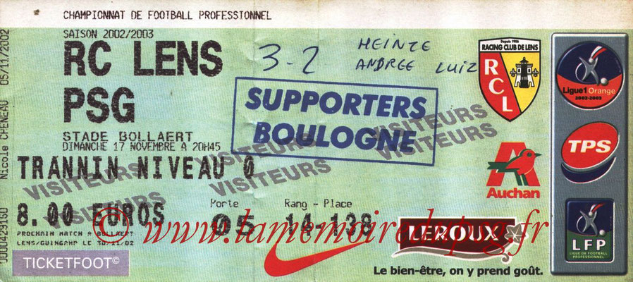 Tickets  Lens-PSG  2002-03