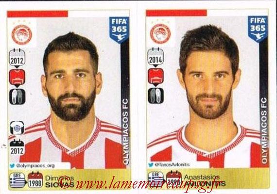 2015-16 - Panini FIFA 365 Stickers - N° 528-529 - Dimitrios SIOVAS + Anastasios AVLONITIS (Olympiacos FC)