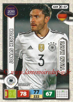 2018 - Panini Road to FIFA World Cup Russia Adrenalyn XL - N° GER07 - Jonas HECTOR (Allemagne)