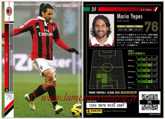 Panini Football League 2013 - PFL04 - N° 002 - Mario YEPES (Milan AC)