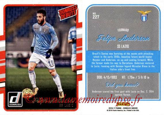 2016 - Panini Donruss Cards - N° 227 - Felipe ANDERSON (SS Lazio) (Donruss Debuts)