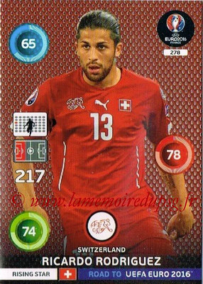 Panini Road to Euro 2016 Cards - N° 278 - Ricardo RODRIGUEZ (Suisse) (Rising Star)