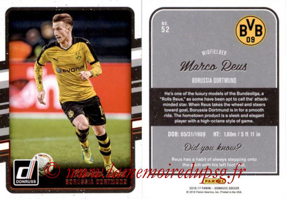 2016 - Panini Donruss Cards - N° 052 - Marco REUS (Borussia Dortmund)