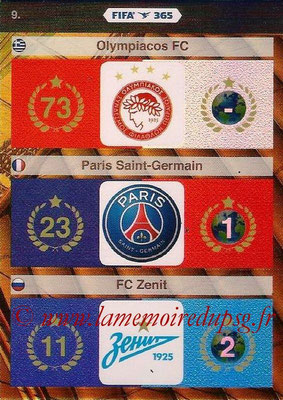 2015-16 - Panini Adrenalyn XL FIFA 365 - N° 009 - Logo et Palmarès Olympiacos + Paris Saint-Germain + FC Zenith
