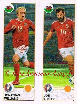 Panini Euro 2016 Stickers - N° 204 - Jonathan WILLIAMS + Joe LEDLEY (Pays de Galles)