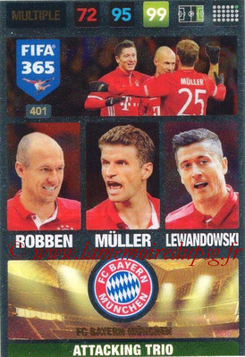 2016-17 - Panini Adrenalyn XL FIFA 365 - N° 401 - ROBBEN + MÜLLER + LEWANDOWSKI (FC Bayern Munich) (Attacking Trio)