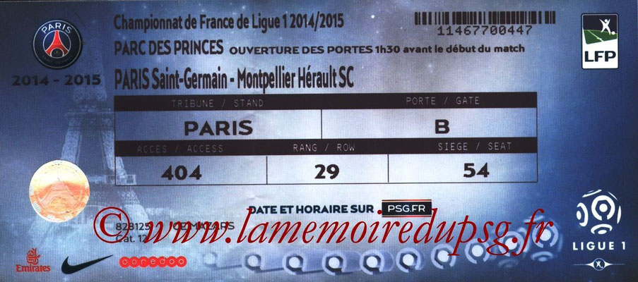 Tickets  PSG-Montpellier  2014-15