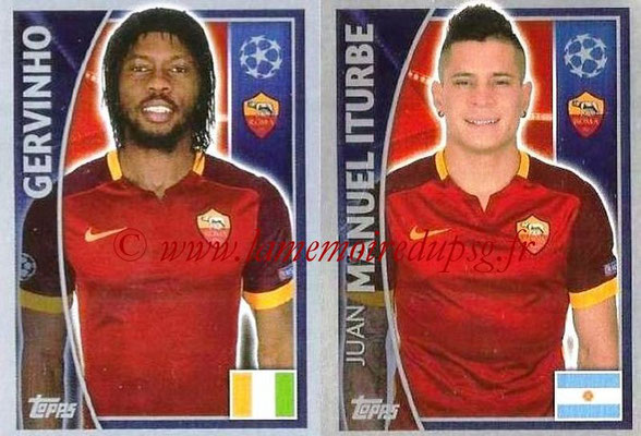 2015-16 - Topps UEFA Champions League Stickers - N° 348 - GERVINHO + Juan MANUEL ITURBE (AS Roma)