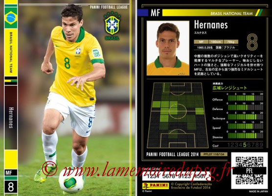 Panini Football League 2014 - PFL07 - N° 116 - HERNANES (Bresil)
