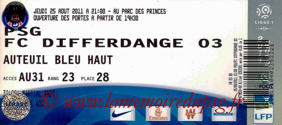 Tickets PSG-Differdange  2011-12