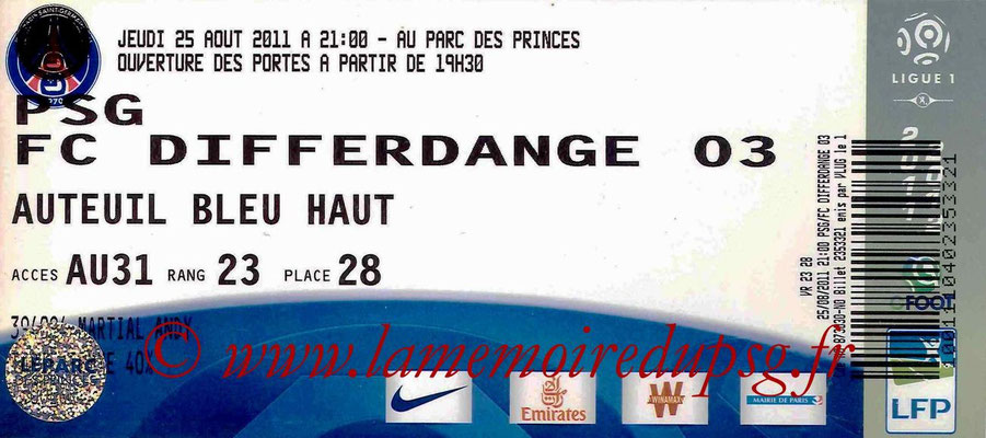 Tickets PSG-Differdange  2011-12