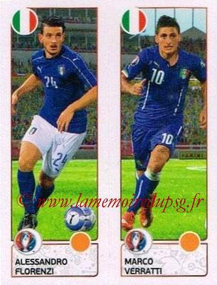Panini Euro 2016 Stickers - N° 494 - Alessandro FLORENZI + Marco VERRATTI (Italie)