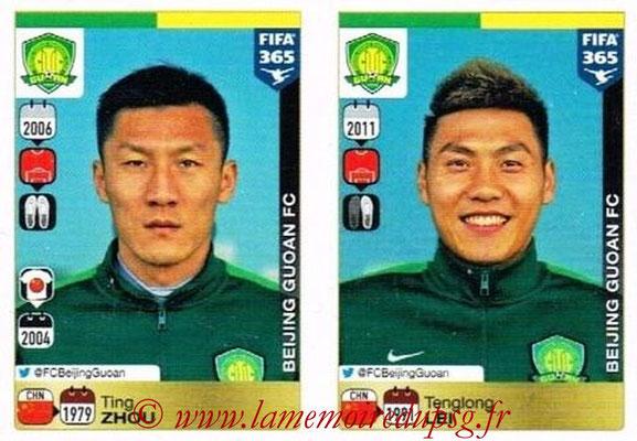 2015-16 - Panini FIFA 365 Stickers - N° 258-259 - Ting ZHOU + Tenglong LEI (Beijing Guoan FC)