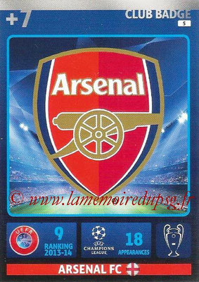 2014-15 - Adrenalyn XL champions League N° 005 - Logo Arsenal FC (Club Badge)