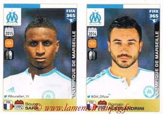 2015-16 - Panini FIFA 365 Stickers - N° 410-411 - Bouna SARR + Romain ALESSANDRINI (Olympique de Marseille)