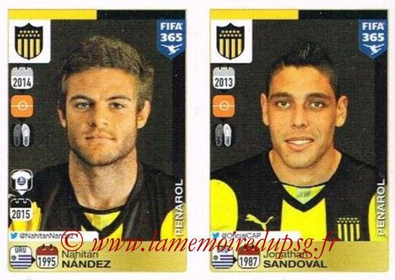 2015-16 - Panini FIFA 365 Stickers - N° 832-836 - Nahitán NANDEZ + Jonathan SANDOVAL (Penarol)