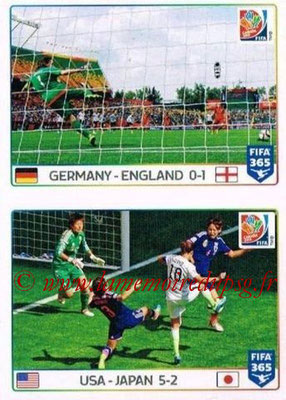 2015-16 - Panini FIFA 365 Stickers - N° 054-055 - Allemagne-Angleterre + Etats-Unis-Japon (FIFA Women's World Cup)