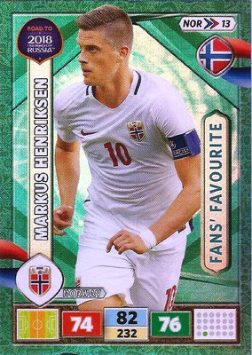 2018 - Panini Road to FIFA World Cup Russia Adrenalyn XL - N° NOR13 - Markus HENRIKSEN (Norvège) (Fans' Favourite)