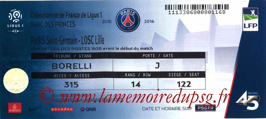 Tickets  PSG-Lille  2015-16