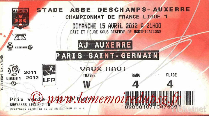 Tickets  Auxerre-PSG  2011-12