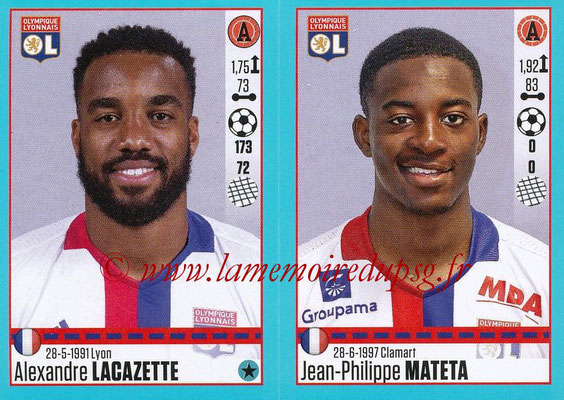 2016-17 - Panini Ligue 1 Stickers - N° 378 + 379 - Alexandre LACAZETTE + Jean-Philippe MATETA (Lyon)