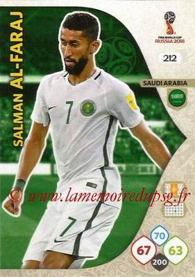 2018 - Panini FIFA World Cup Russia Adrenalyn XL - N° 212 - Salman AL-FARAJ (Arabie Saoudite)
