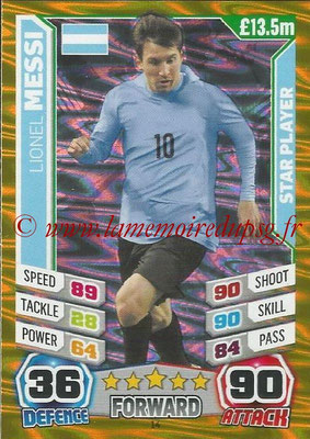 Topps Match Attax England 2014 - N° 014 - Lionel MESSI (Argentine) (Star Player)
