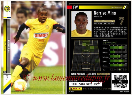 Panini Football League 2013 - PFL04 - N° 128 - Narciso MINA (Club América)