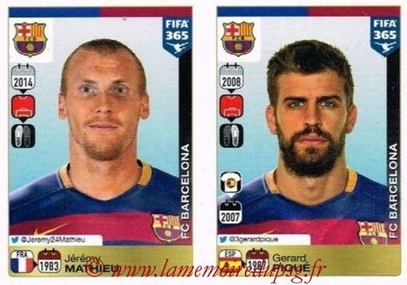2015-16 - Panini FIFA 365 Stickers - N° 344-345 - Jérémy MATHIEU + Gerard PIQUE (FC Barcelone)
