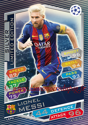 2016-17 - Topps UEFA Champions League Match Attax - N° LEPA - Lionel MESSI (FC Barcelone) (Limited Edition Silver)