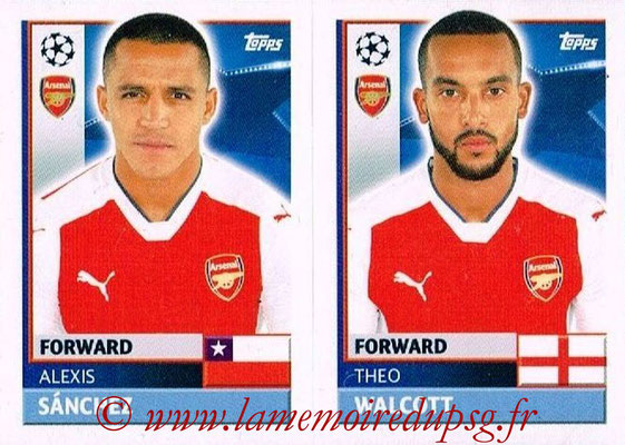 2016-17 - Topps UEFA Champions League Stickers - N° ARL 16-17 - Theo WALCOTT + Alexis SANCHEZ (Arsenal FC)