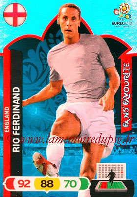 Panini Euro 2012 Cards Adrenalyn XL - N° 247 - Rio FERDINAND (Angleterre) (Fans' Favourite)