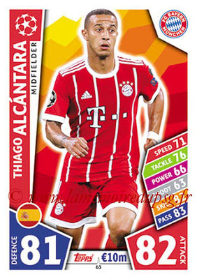 2017-18 - Topps UEFA Champions League Match Attax - N° 063 - Thiago ALCANTARA (FC Bayern Munich)