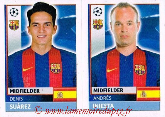 2016-17 - Topps UEFA Champions League Stickers - N° FCB 14-15 - Andres INIESTA + Denis SUAREZ (FC Barcelone)