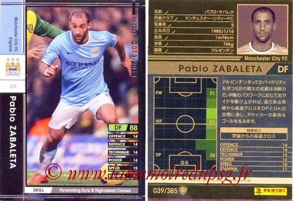 2013-14 - WCCF - N° 039 - Pablo ZABALETA (Manchester City FC)