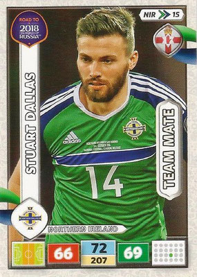 2018 - Panini Road to FIFA World Cup Russia Adrenalyn XL - N° NIR15 - Stuart DALLAS (Irlande du Nord) (UK Version)