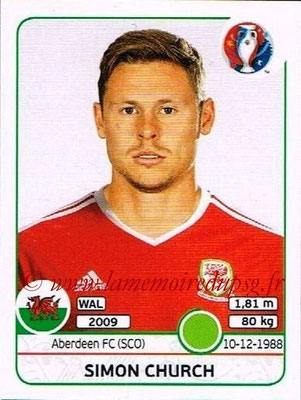 Panini Euro 2016 Stickers - N° 198 - Simon CHURCH (Pays de Galles)