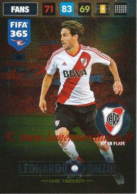 2016-17 - Panini Adrenalyn XL FIFA 365 - N° 048 - Leonardo PONZIO (CA River Plate) (Fans' Favourite)