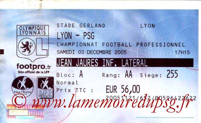 Tickets  Lyon-PSG  2005-06
