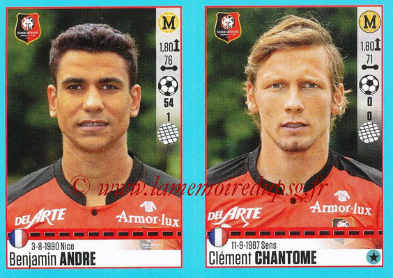 2016-17 - Panini Ligue 1 Stickers - N° 744 + 745 - Benjamin ANDRE + Clément CHANTOME (Rennes)