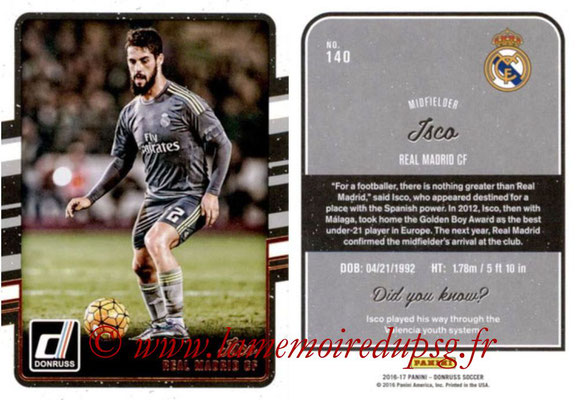 2016 - Panini Donruss Cards - N° 140 - ISCO (Real Madrid CF)