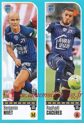2016-17 - Panini Ligue 1 Stickers - N° 917 + 918 - Benjamin NIVET + Raphaël CACERES (Troyes)