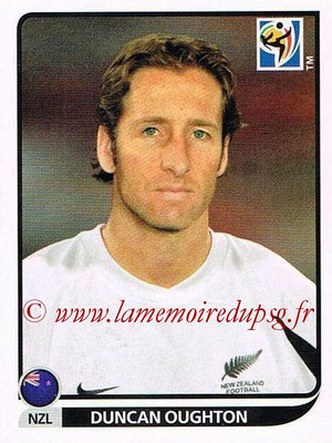 2010 - Panini FIFA World Cup South Africa Stickers - N° 459 - Duncan OUGHTON (Nouvelle Zelande)