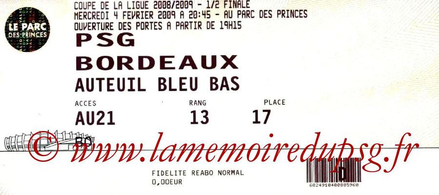 Tickets  PSG-Bordeaux  2008-09