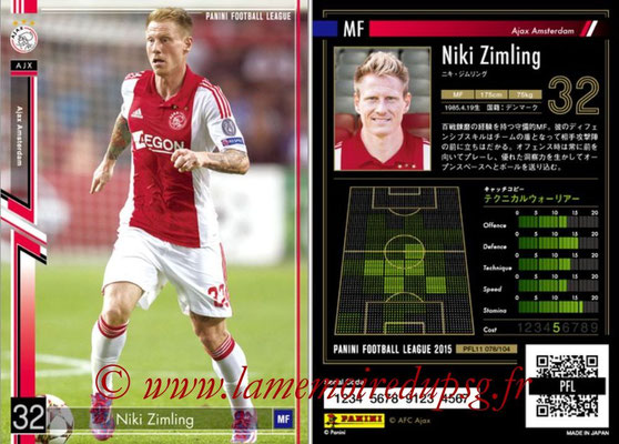 Panini Football League 2015 - PFL11 - N° 078 - Niki ZIMLING (Ajax)